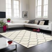 Logan LG10 Ogee Ivory Grey Rug By Asiatic