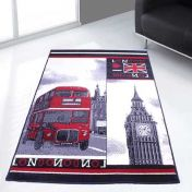 Themed Poly London 1 Black Graphics Modern Rug by Rug Style