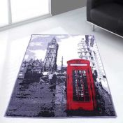 Themed Poly London 3 Grey Graphics Modern Rug by Rug Style