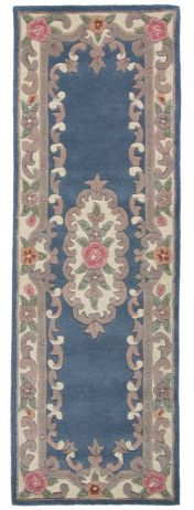Lotus Premium Aubusson Blue Wool  Runner By Flair Rugs