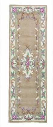 Lotus Premium Aubusson Fawn Wool Runner by Flair Rugs