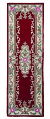 Lotus Premium Dynasty Wool Aubusson Red Wool Runner By Flair Rugs