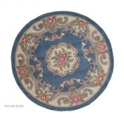 Lotus Premium Aubusson Blue Wool Circle Rug By Flair Rugs