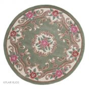 Lotus Premium Aubusson Green Wool Circle Rug By Flair Rugs