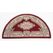 Lotus Premium Aubusson Red Half Moon Wool Rug By Flair Rugs