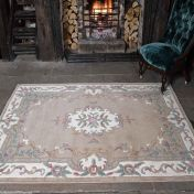 Lotus Premium Dynasty Wool Aubusson Fawn Rug by Flair Rugs