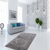 Luxury 110 Grey Anthracite Plain Rug by Unique Rugs