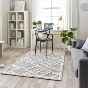 Maison 7870A White Light Grey Geometric Rug by Mastercraft