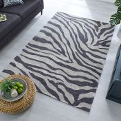 Manhattan Wilder Zebra Charcoal Grey Rug by Flair Rugs