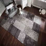 Manhattan Patchwork Chenille Black Grey Floral Rug by Flair Rugs