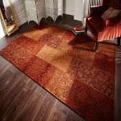 Manhattan Patchwork Chenille Terracotta Floral Rug by Flair Rugs