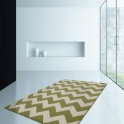 Manolya 2095 Green Striped Modern Rug by Unique Rugs