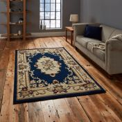 Think Rugs Marrakesh Dark Blue Traditional Circle Rug