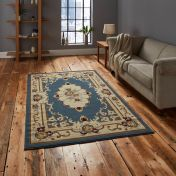 Think Rugs Marrakesh Light Blue Traditional Circle Rug