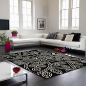 Matrix Code & Kaya MAX49 Kaya Black Floral Wool Rug by Asiatic