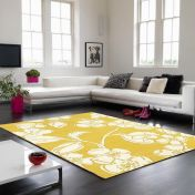 Matrix Devore MAX15 Devore Yellow Floral Wool Rug by Asiatic