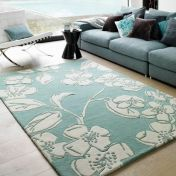 Matrix Devore MAX12 Devore Blue Floral Wool Rug by Asiatic