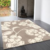 Matrix Devore MAX14 Devore Taupe Floral Wool Rug by Asiatic