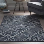 Midnight Rose Triangles Navy Geometric Rug by Origins