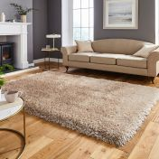 Think Rugs Montana Beige Plain Shaggy Rug