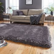 Think Rugs Montana Dark Grey Plain Shaggy Rug
