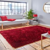 Think Rugs Montana Dark Red Plain Shaggy Rug