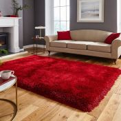 Think Rugs Montana Red Plain Shaggy Rug