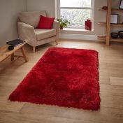 Montana Red Plain Shaggy Rug by Think Rugs