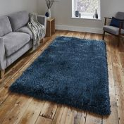 Think Rugs Montana Steel Blue Plain Shaggy Rug