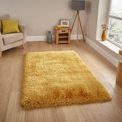 Montana Yellow Plain Shaggy Rug by Think Rugs