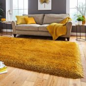 Think Rugs Montana Yellow Plain Shaggy Rug