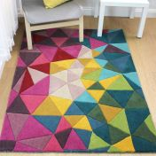 Illusion Falmouth Multi Modern Wool Rug by Flair Rugs