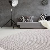 Natura 110 Natural Grey Striped Wool Rug by Unique Rugs