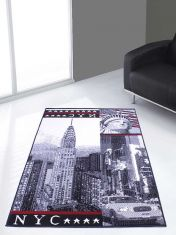 Themed Poly New York Black Graphics Modern Rug by Rug Style