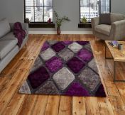 Noble House NH9247 Grey / Purple Rug by Think Rugs