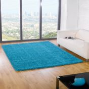Nordic Cariboo Turquoise Plain Shaggy Rug By Flair Rugs