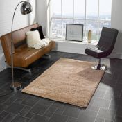 Nordic Cariboo Beige Plain Shaggy Rug By Flair Rugs