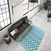 Now 300 Ivory Turquoise Modern Rug by Unique Rugs