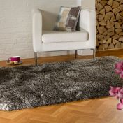 Pearl Brown Plain Shaggy Rug By Flair Rugs