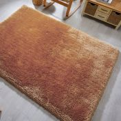 Pearl Gold Plain Shaggy Rug by Flair Rugs