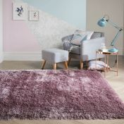 Pearl Mauve Plain Shaggy Rug by Flair Rugs