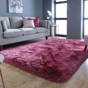 Pearl Raspberry Plain Shaggy Rug By Flair Rugs