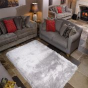 Pearl Silver Plain Shaggy Rug By Flair Rugs