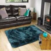 Pearl Teal Plain Shaggy Rug By Flair Rugs