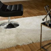 Pearl White Plain Shaggy Rug By Flair Rugs