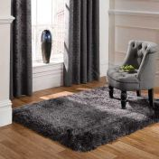 Pearl Dark Grey Plain Shaggy Rug By Flair Rugs