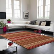 Pimlico Fine Stripe Red Runner By Asiatic