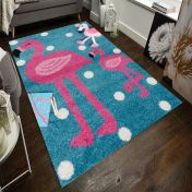 Play Days Flamingo Blue Pink Kids Rug by Flair Rugs