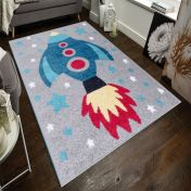 Play Days Rocket Multi Kids Rug by Flair Rugs