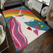 Play Days Unicorn Rainbow Multi Kids Rug by Flair Rugs